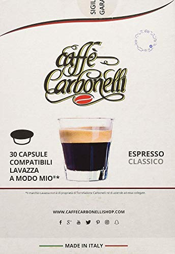120 Kapseln kompatibel Lavazza a modo mio - Caffè Carbonelli Mischung Classic Neapolitanischer Espressokaffee