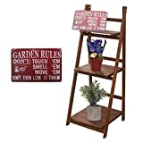 Wood Plant Stand Plant Shelf for Indoor and Outdoor, Foldable 3 Tiers Ladder Flower Stand Plant Rack, with Vintage Garden Metal Sign