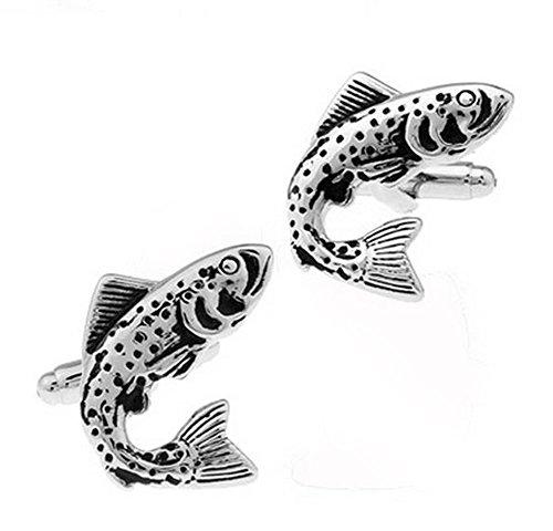 Lumanuby 1 Paar Herren Legierung Manschettenknöpfe von Fisch Form Hochzeit Tier Cufflinks Mehrzweck für Engagement Festival oder Business Schwarz Farbe, Manschettenknöpfe Serie Size ca. 1.9 * 2.5cm