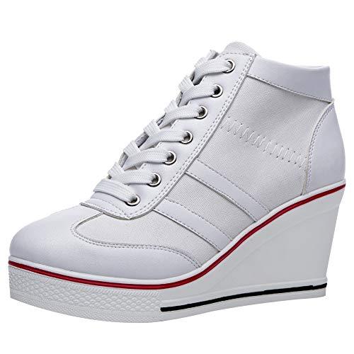 rismart Mujer Tenis de Lona con Tacon Cuña Zapatillas Sneakers Plataforma Alta Altos Zapatos SN02513(Blanco,38.5 EU)