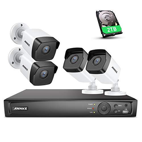 ANNKE C500 8CH 5MP Überwachungskamera Set mit 4X 5MP PoE IP Wasserfeste Kamera und 4K/8MP 8CH 2TB HDD NVR Farbe Nachtsicht Überwachungssystem für Haus, Innen, Außen Sicherheit