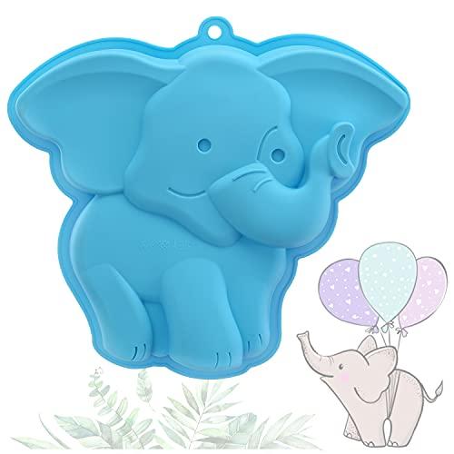 YISUYA Elefant-Kuchenform, 3D-Elefant-Backform, Neuheit-Kuchenform, Silikon-Elefant-Form, Antihaft-Elefant zum Backen, DIY Geburtstags-Kuchenform, SilikonElefant für Kuchen, Pudding, Gelee(Blau)