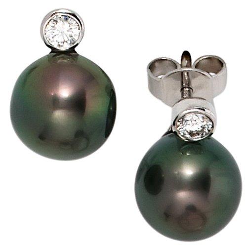 JOBO Ohrstecker 585 Weißgold 2 Diamant-Brillanten 2 Tahiti-Perlen Gold-Ohrringe