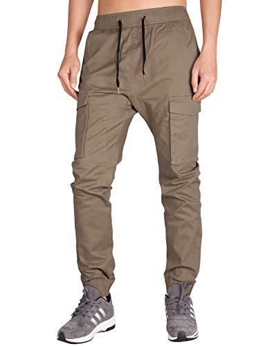 ITALY MORN Pantalones Cargo Joggers Hombre con Múltiples Bolsillos Laborales (Madera Caqui, S)