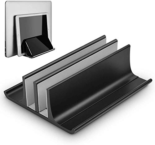 TONINI Vertical Laptop Stand, Double Desktop Stand Holder with Adjustable Dock (Up to 17.3 inch), Aluminum Notebook Holder Compatible for MacBook Pro/Air, Surface Laptop, Dell, HP, Samsung, Lenovo,