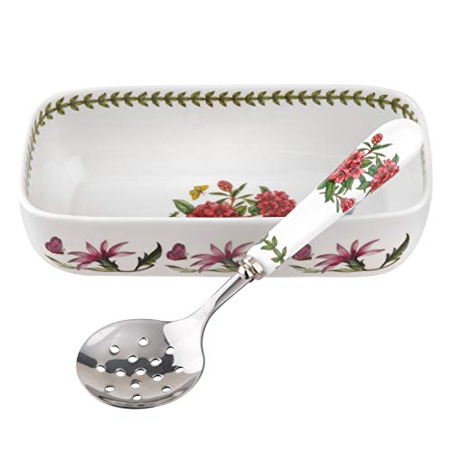 Portmeirion 608832 Botanic Garden Cranberry Dish &Amp; Slotted Spoon.
