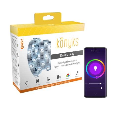 Tira LED conectada Konyks Dallas Easy - Wi-Fi + Bluetooth, Colores + Blanco ajustable, Largo 3m, compatible con Alexa y Google Home, ambientes y automatizaciones fáciles.