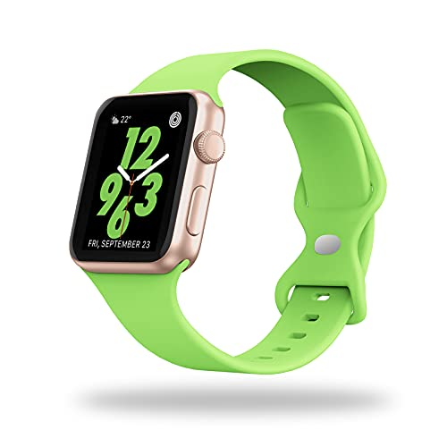 STG Sport Watch Band Compatible with Apple Watch Band 38mm 40mm 42mm 44mm, Soft Silicone Replacement Sport Strap Compatible for iWatch SE Series 6/5/4/3/2/1 (42/44mm, Apple Green)