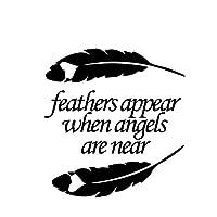 アウトドア ステッカー 14 X 14.8cmの注意羽は、天使が作られているときに羽が現れる アウトドア ステッカー (Color Name : Black)