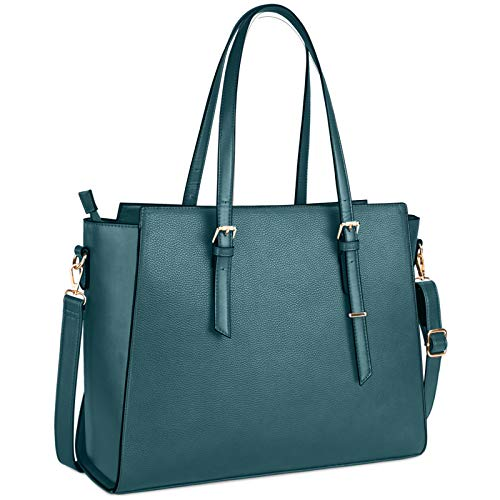 NEWHEY Laptop Bags for women Large Leather Handbags Ladies Laptop Tote Bag Business Work Shoulder Bag lightweight 15.6 Inch Green
