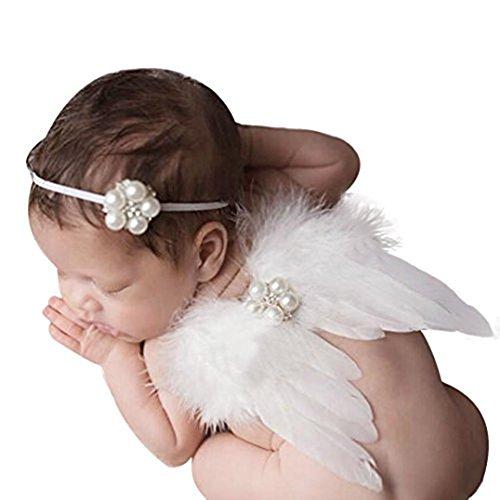 Witte Fee Baby Veer Engel Vleugels Photo Props Baby Pasgeboren Peuter Baby Gift Accessoires met Elastische Parel Strass Haarband Set