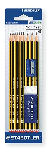 STAEDTLER 120S1BK10D Noris Pencils HB with Sharpener and Eraser, Pack of 10