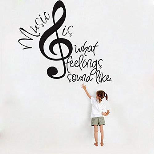 WWZEMLK La música es lo Que suenan como Notas Cita Extraíble Decoración de Pared Vinilo Pegatina Mural Palabras Calcomanía Inicio Decoración de Arte
