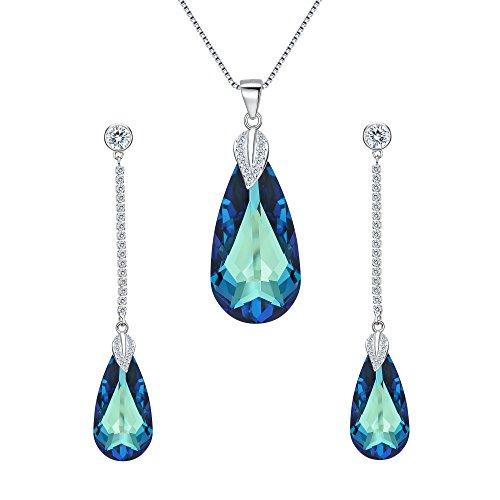 Clearine Donna Parure gioielli Argento'Le lacrime Francese' CZ Foglia ciondolo Collana Ciondola gli orecchini Set con Cristallo Bermuda Blu