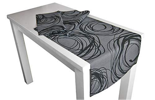 """beties """"Mystik"""" Tischläufer ca. 40x150 cm in interessanter Größenauswahl hochwertig & angenehm 100% Baumwolle Farbe Platin-Schwarz"""