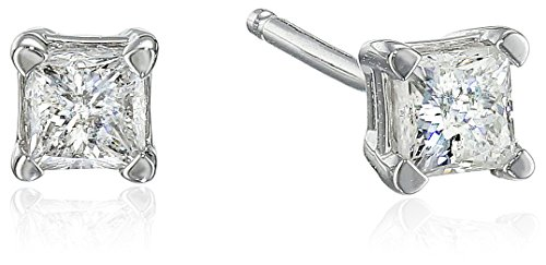 Hot Sale 10k White Gold Princess-Cut Diamond Studs (1/4 cttw, J-K Color, I2-I3 Clarity)