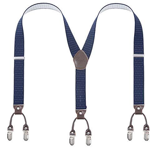 Herren-Hosenträger Zoyette, Hosenträger für Männer, 6 Clips, 3,6 cm breit,  Y-Rücken, robust, elastisch, langlebig, starke Metallclips Gr. Einheitsgröße, Gepunktetes Blau