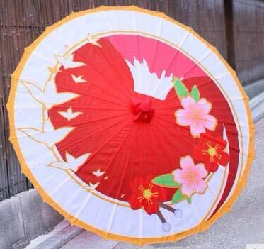 BDWS Regenschirm Klassische Seide geölt Papier Papier Regenschirm antike Deckenventilator Dekoration Tanz Regenschirm Regen Parapulia SombrillaRot