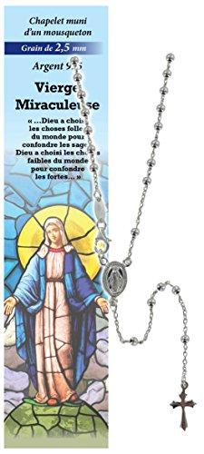 Rosario Virgen de los Milagros de plata 925 con cuentas de Ø 2,5 mm y una oración en francés