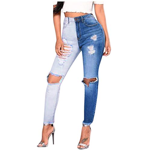 charmsamx Women's Two Tone Jeans Color Block Distressed Ripped Denim Pants Casual Destroyed Straight Ankle Pants High Rise Crop Jeans Trousers Blue M