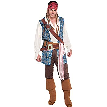 Costumes USA Jack Sparrow Pirate Costume for Adults Standard Size Includes a Shirt Pants a Bandana with Dreadlocks