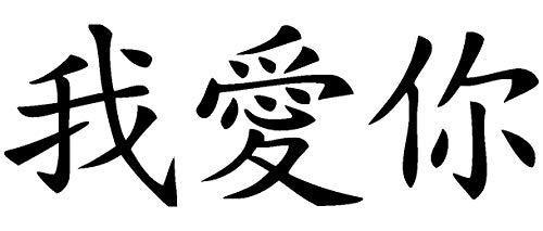 Samunshi® Wandtattoo chinesisch Ich Liebe Dich Schriftzeichen in 8 Größen und 19 Farben (60x20cm schwarz)
