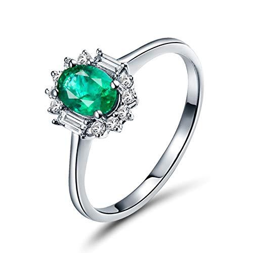 AnazoZ Anillos Esmeralda Mujer,Anillo Oro Blanco 18 Kilates Mujer Plata Verde Flor Oval Esmeralda Verde 0.9ct Diamante 0.27ct Talla 25