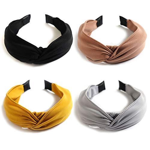 Damen Haarreifen - Boho Verdrehte Stirnbänder Haarband Frauen Cross Elastische Hairband Blume Gedruckt Kopfband knoten Kopf Warp Yoga Sport Hair Accessories