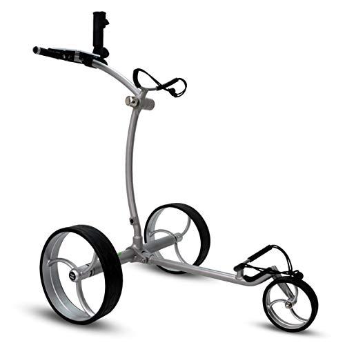 tour-made RT-650S PRO Quickfold Lithium Elektro Golftrolley - mit elektronischer Bergabfahrbremse - Golftrolley Elektrisch Deutscher Händler NEU 2021 Silber-Silber