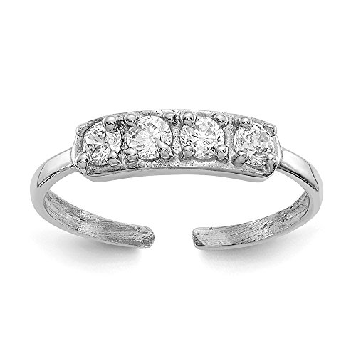 Mia Diamonds 14k Solid White Gold Cubic Zirconia Toe Ring 14k Love Toe Ring