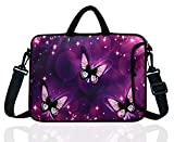 17-Inch to 17.3-Inch Neoprene Laptop Shoulder Messenger Bag Case Sleeve For 16 16.5 17 17.3' Inch Acer/Asus/Dell/Lenovo/HP/Macbook (Purple Butterfly)