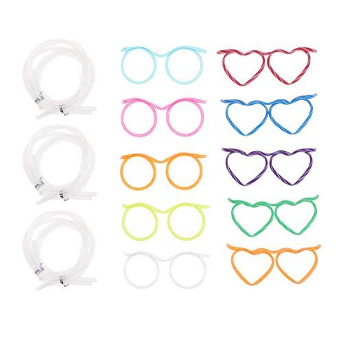 TOYANDONA 20 stücke Partei trinkhalm trinkhalm Brillen Party bar liefert Kinder Brillen Stroh kindergeburtstagsfeiern DIY modellierung strohhalme