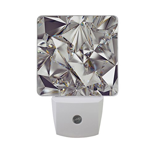 Naanle Set of 2 Glitter 3D Abstract Diamond Crystal Clear Texture Print Auto Sensor LED Dusk to Dawn Night Light Plug in Indoor for Adults