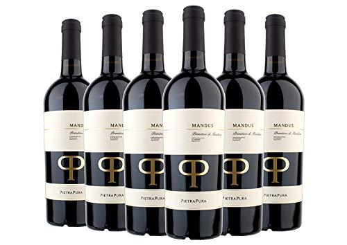 Primitivo di Manduria DOC 2018 - Mandus - Pietra Pura - 6 x 0,75 l. - 6er Vorteilspaket - Italienischer Rotwein aus Apulien - Italien