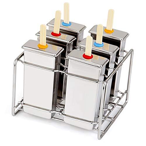 Moldes Polos Helado, Reutilizable Acero Inoxidable Molde Para Helados (Plano 6 pieza)