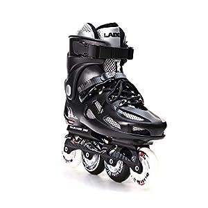 Patines Adultos Linea 4 Ruedas Cómodo Deportes Freeskate Fitness Movimiento Zapatilla Juguete Equipos de Patinaje para Jouvenes Hombre y Mujer,Black,37