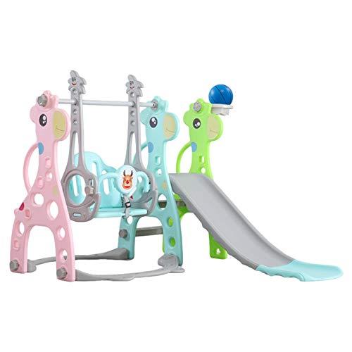 Conjunto de columpio y de deslizamiento para niños, columpio y deslizador para todos los pequeños, juego de deslizamiento 3 en 1, gran tobogán, escalera fácil de montar