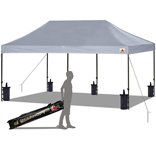 ABCCANOPY Pop up Canopy Tent Commercial Instant Shelter with Wheeled Carry Bag, Bonus 6 Canopy Sand Bags, 10x20 FT (Gray)