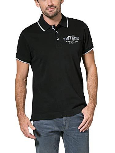 Camp David Herren Poloshirt aus Jersey mit kleinem Artwork, Black, M