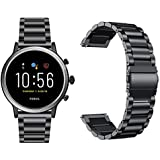 GGOOIG Compatible with Fossil Gen 5 Carlyle HR Band, 22mm Solid Stainless Steel Metal Replacement Band Strap for  Fossil Gen 5 Carlyle HR Smart Watch (Black)