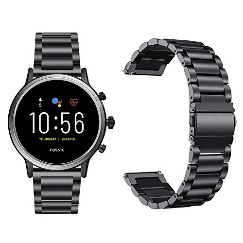 GGOOIG Compatible with Fossil Gen 5 Carlyle HR Band, 22mm Stainless Steel Metal Strap for Fossil Gen 4 Q Explorist HR/Fossil Gen 3 Q Explorist SmartWatch (Black)