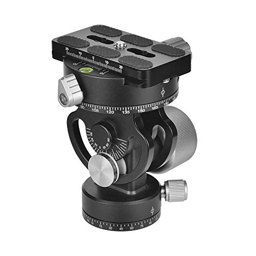 Andoer Camera Tripod Head 2-Way Pan/Tilt Panoramic Photography Ball Head 360° Rotating with Quick Release Plate 3 Bubble Levels and Carry Bag for Tripods, Monopod DSLR Cameras Max Load Capacity 22Lbs