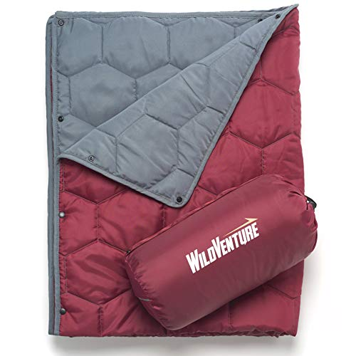 WildVenture Hexi Do-Anything Camping Blanket - Lightweight Windproof Insulated Throw Quilt for Outdoor - Picnic, Stadium, Festival, Beach. 80'X50' - Stuff Sack Included (Burgundy and Light Grey)