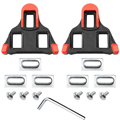 Hrroes 2 Pcs Bicycle Cleats Self-Locking Bicycle Pedals Cleats 6 Degree Float Self-Locking Cycling Pedals Cleat Set for Shimano SPD-SL Shoes with Wrench Screw and Gasket (7x8cm)