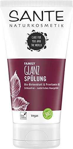 SANTE Naturkosmetik Glanz Spülung Bio-Birkenblatt & Provitamin B5, Intensive Pflege für weiches Haar, Bewahrt Spannkraft, Natürlicher Conditioner für seidigen Glanz & Fülle, Ohne Silikon, Vegan, 150ml