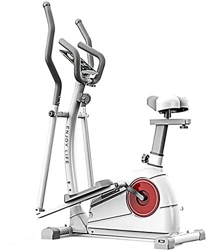 Bicicleta elíptica Control magnético Elíptico Fitness Cruz Entrenador 3 en 1 Máquina elíptica Ejercicio Bicicletas Espacio Máquina Caminando con Equipo de Gimnasio.-Blanco