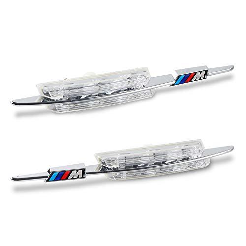 [1 par] OZ-LAMPE LED luces de giro marcadoras laterales, luces indicadoras de dirección [color ámbar] para coche B-M-W E90 E91 E92 E93 E60 E61 E82 E88, 3/5/1 Series (Lente transparente)