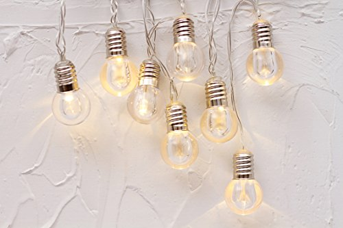 10er LED Kristall Glühbirne Lichterkette Batteriebetrieb Globe Kugeln Innen Romantisch Deko Licht Schnur Warmweiß gresonic