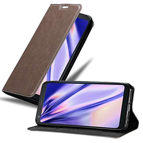 Cadorabo Hülle für LG Q7+ (Plus-Version) in Kaffee BRAUN - Handyhülle mit Magnetverschluss, Standfunktion & Kartenfach - Hülle Cover Schutzhülle Etui Tasche Book Klapp Style