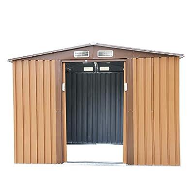 6' x 8' Garden Tool Storage Utility Shed Outdoor House Galvanized Steel w/Sliding Door, 4 Vents, Brown